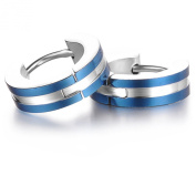 Stayoung Jewellery Pair of Stainless Steel 2 Tone Hoop Earring with Blue IP Edges