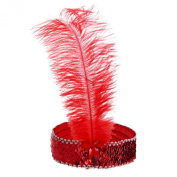 BODYA Headband 20's Deluxe red Silver Flapper Sequin Charleston Dress Costume Hairband Headpiece