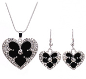 PRESKIN Black Silver Jewellery Crystal Heart Necklace + earrings | plated sparkling crystal heart pendant on fine chain with matching heart-shaped earrings, with 925 silver