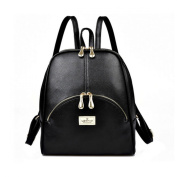 Ushang PU Leather Solid Soft Backpack Bags, Lightweight Tote Double Zipper Daypacks, Black