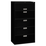 HON 600 Series 90cm Wide 5-Drawer Black Lateral File Cabinet