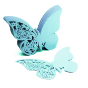 50pcs Butterfly Wine Glass Card Name Number Cup Card For Wine Glasses For Wedding Party Birthday Decoration Favour Blue