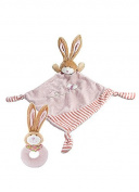 Little Pink Rabbit Matching Soft Comfort Blanket and Plush Rattle Gift Set for New Baby Girl