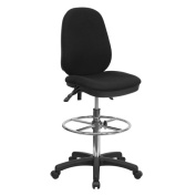 Black Chrome Drafting Stool