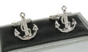 Ships Anchor With Rope Nautical Cufflinks In Onyx Art Box