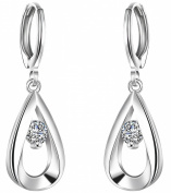 ANDI ROSE Fashion Jewellery 925 Silver Plated CZ Zircon Bicyclic Shape Hoop Earrings for Women Girls