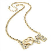 Divadoo Gold Colour Crystal Love Chain Necklace