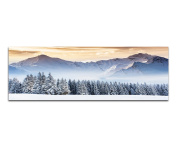 Panorama on Genuine Canvas with Stretcher Frame 150 x 50 CM Snow Sunset Forest Clouds Mountains