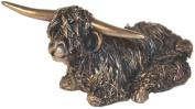 Large cold cast Bronze Sculpture 'Highland Bull Sitting' by Victoria Ballan