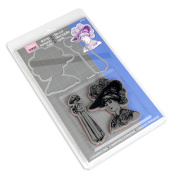 Sizzix Framelits Dies 2/Pkg With Stamps-Lady W/Hats
