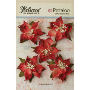 Textured Elements Burlap Poinsettias 6.4cm 5/Pkg-Red