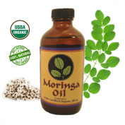 MORINGA ENERGY OIL - 240ml USDA Organic, 100% Pure Moringa Oleifera Seed Oil by Cold Pressed Extraction. Rejuvenate dry Skin, Hair and Body with a Abundance of Antioxidants & Nutrients