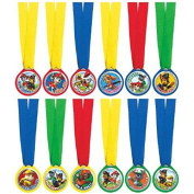 Amazing Paw Patrol Birthday Mini Award Medals, 12 Pieces, Made from Plastic, Multicolor, Ribbon, 33cm Plastic Medallion, 3.8cm by Amscan