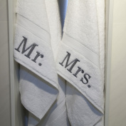 Authentic Hotel and Spa Embroidered 'Mr.' and 'Mrs.' Turkish Cotton Hand Towel