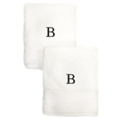 Authentic Hotel and Spa 2-piece White Turkish Cotton Hand Towels with Black Monogrammed Initial