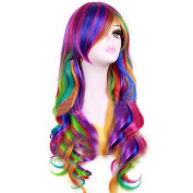 KOLIGHT® Fashion Girls Long Curly Rainbow Cosplay Party Wig Costume Hair Wigs-Free Cap+Comb