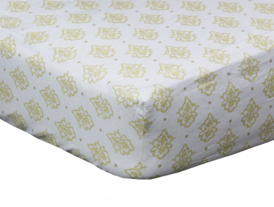 Juliet Gold Medallion Fitted Crib Sheet by The Peanut Shell