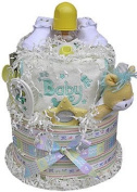 Neutral Baby Shower Nappy Cake Two Tiered