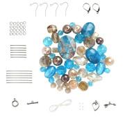Turqouise & Golden Beige Bead Set