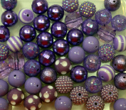 20mm Bulk Mix of 52 Purple Chunky Bubblegum Beads 11 Styles Acrylic Gumball Beads Lot