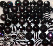 20mm Bulk Mix of 52 Black Chunky Bubblegum Beads 11 Styles Acrylic Gumball Beads Lot