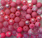 20mm Bulk Mix of 52 Pink Chunky Bubblegum Beads 11 Styles Acrylic Gumball Beads Lot