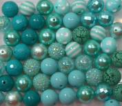 20mm Bulk Mix of 52 Mint to Teal Chunky Bubblegum Beads 11 Styles Acrylic Gumball Beads Lot