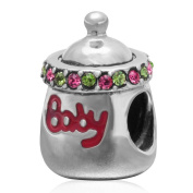 Choruslove Baby Bottle Charm 925 Sterling Silver with Fuchsia Crystal Love Compatible for European Brand Bracelet