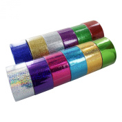 Bazic 1.88 X 3 Yard Holographic & Glitter Duct Tape, Assorted Colours, Set of 12