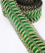 7yards Gold Green African Cord Applique Lace Fabric Trim Patches Embroidred Motif Venise Sew On DIY Design Sewing