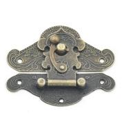 Fujiyuan 2 pcs Box Latch Hook Lock Catch Cabinet Wooden 82mmx64mm Trunk Suitcase Decorative Jewellery Gift Hasp Furniture Screws
