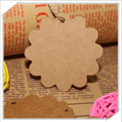 Blank Brown Kraft Paper Flower Marked Blank Card Hand Draw Tags Labelled Card Model+20M String