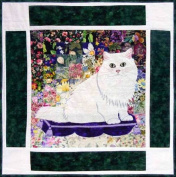 Watercolour Quilt Kit - Rachel's Cat Garden - Block 5 - Max Chinchilla Persian Cat - KIT ONLY!
