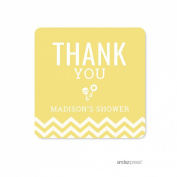 Andaz Press Yellow Chevron Gender Neutral Baby Shower Collection, Personalised Square Label Stickers, Thank You, 40-Pack, Custom Name