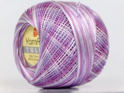 Variegated Lilac Lavender White - Yarn Art Tulip Size 10 Microfiber Thread - 50 Gramme