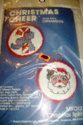 Kappie Originals Christmas Cheer Cross Stitch Ornaments Kit Santa and Candy Cane