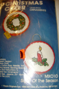 Kappie Originals Christmas Cheer Cross Stitch Ornaments Kit Candle and Wreath