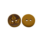 Yongshida 13mm Diameter Maple Leaf Pattern Round Shape 2 Holes Scrapbooking Sewing Toggle Wood Buttons Pack of 50