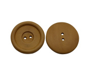 Yongshida 30mm Diameter Light Brown Concave Round Shape 2 Holes Scrapbooking Sewing Toggle Wood Buttons Pack of 15