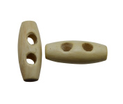 Yongshida Beige 25mm X 10mm Olive Shape 2 Holes Scrapbooking Sewing Toggle Wood Buttons Pack of 15