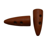 Yongshida Brown 26mm X 10mm Horn Shape 2 Holes Scrapbooking Sewing Toggle Wood Buttons Pack of 30