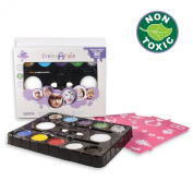 Face Paint For Kids (8 Vibrant Colours + 2 Glitter Gels + 2 Versatile Brushes + 2 Sponges + 24 Done-For-You Stencils) Water Based, Skin-Friendly, Fragrance Free & FDA Compliant - Paints 40 - 80 Face Projects