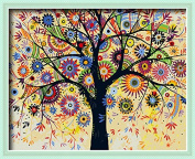DIY PBN-paint by numbers Abstract Tree-4 41cm by 50cm Frameless.