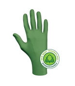 ENVIROMENTALLY FRIENDLY 4 MILL NITRILE GLOVE, 100% BIODEGRADABLE, POWDER FREE GREEN 100/BX