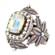 """Mariana Rectangle and Fern Adjustable Ring, """"Seashell"""" Silver Plated with. Crystal 7040 1201"""