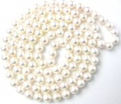 "6.5-7mm 34"" Genuine White Saltwater Cultured Akoya Pearl Strand Opera Necklace Sku#"