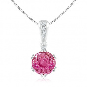 Secured Prong Pink Sapphire and Diamond Solitaire Pendant