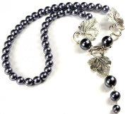 Blue Glass Pearl & Leaf Pendant Necklace Silver Tone Toggle 48cm N14061326b