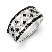 5/8 Ctw (I2-I3 clarity) Black & H-I White Diamond Serpentine Band in Sterling Silver