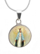 Our Lady of Fatima / Immaculate Heart of Mary Religious Medal Pendant w/ Sterling Silver Plated Necklace